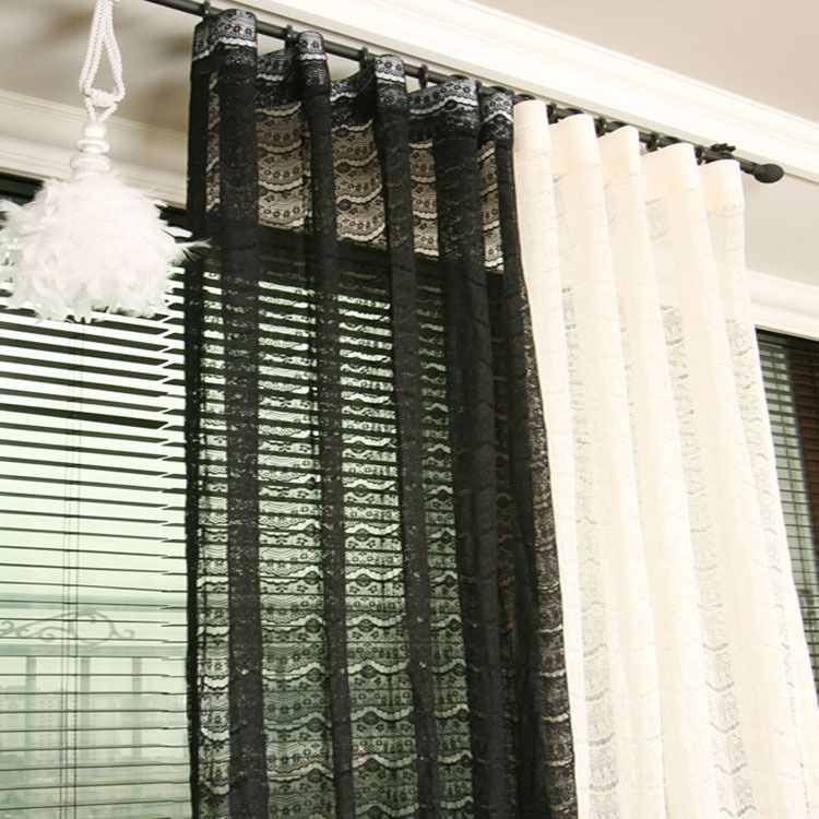 Handmade Black Lace Sheer Curtain Decorative Voile Net Pertaining To Luxury Collection Monte Carlo Sheer Curtain Panel Pairs (#9 of 29)