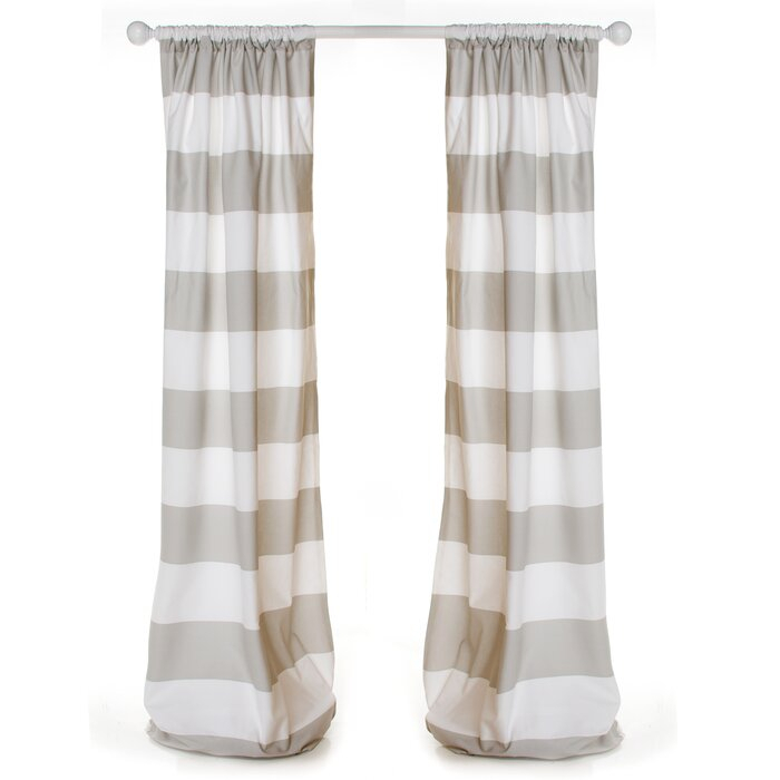 Hank Drapery Striped Rod Pocket Curtain Panels Inside Ocean Striped Window Curtain Panel Pairs With Grommet Top (#14 of 41)