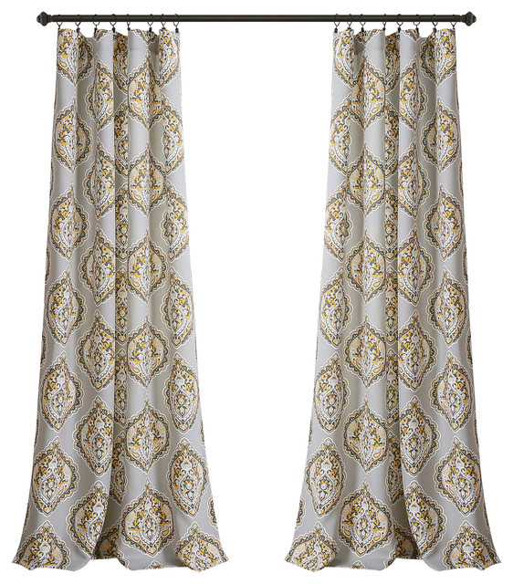 "Harley Room Darkening Window Curtain Panel Set, Yellow/gray, 52""x84"" Regarding Dolores Room Darkening Floral Curtain Panel Pairs (View 9 of 35)"