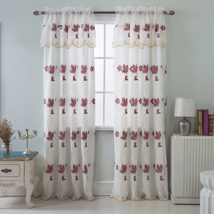 Harpenden Embroidered Satin Layered Floral/flower Semi Sheer Rod Pocket Single Curtain Panel Throughout Ombre Embroidery Curtain Panels (View 30 of 50)