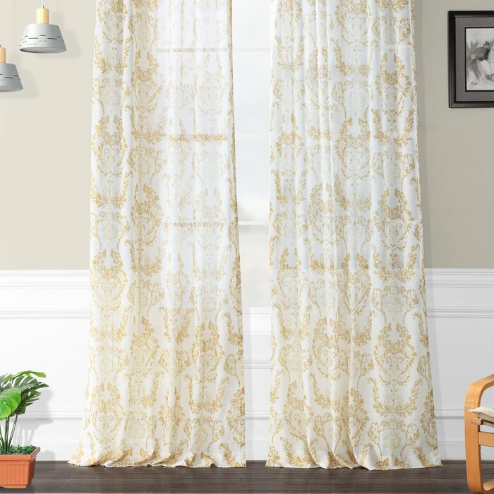 Hayman Printed Faux Linen Polyester Single Curtain Panel Regarding Luxury Collection Faux Leather Blackout Single Curtain Panels (View 33 of 42)