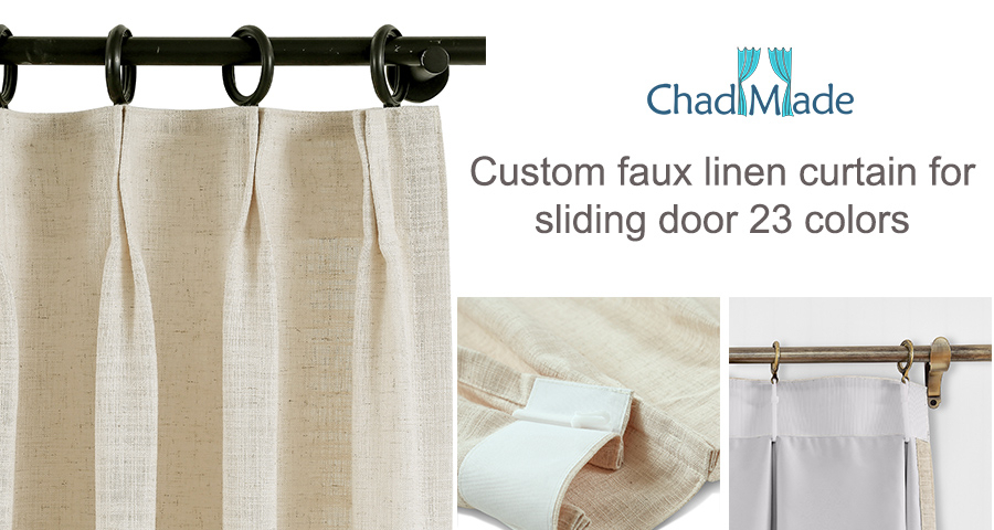 Heavyweight Faux Linen Curtain Pinch Pleat Drapery For Traverse Rod Ring  Clip Or Track Olive Pertaining To Faux Linen Extra Wide Blackout Curtains (View 27 of 50)