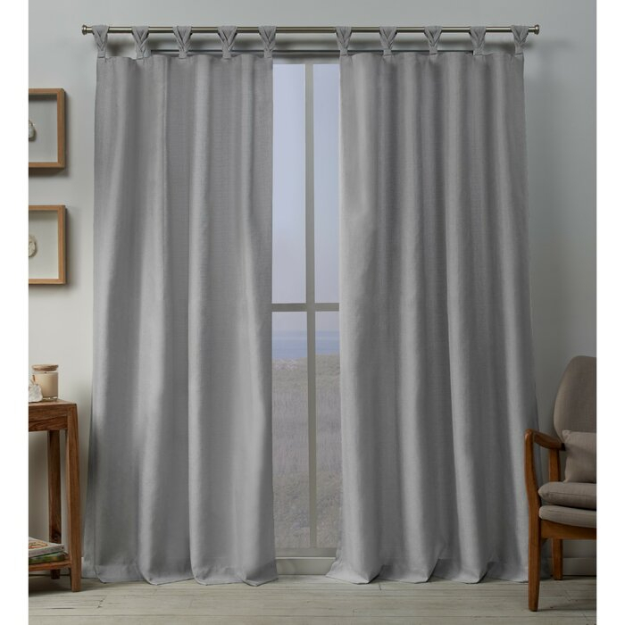 Heil Solid Color Room Darkening Tab Top Curtains In Knotted Tab Top Window Curtain Panel Pairs (#15 of 50)