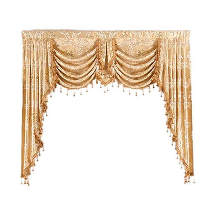 Helen Curtain European Jacquard Royal Luxury Valance Inside Elrene Mia Jacquard Blackout Curtain Panels (View 26 of 37)