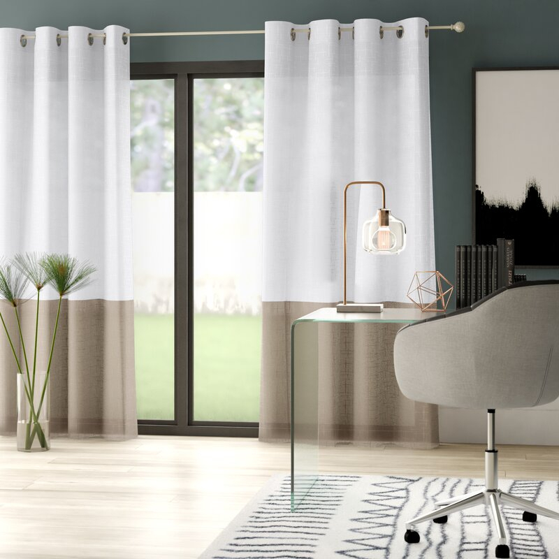 Hiers Striped Semi Sheer Grommet Single Curtain Panel Inside Single Curtain Panels (View 7 of 36)
