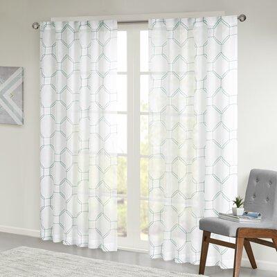 Highland Dunes Geometric Semi Sheer Tab Top Single Curtain Panel For Tab Top Sheer Single Curtain Panels (View 30 of 50)