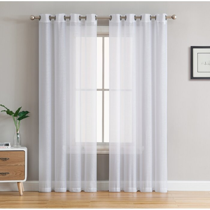 Highlawn Solid Sheer Grommet Curtain Panels For Grommet Curtain Panels (#18 of 39)