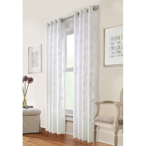 Highworth Floral Semi Sheer Grommet Single Curtain Panel Pertaining To Light Filtering Sheer Single Curtain Panels (#15 of 38)