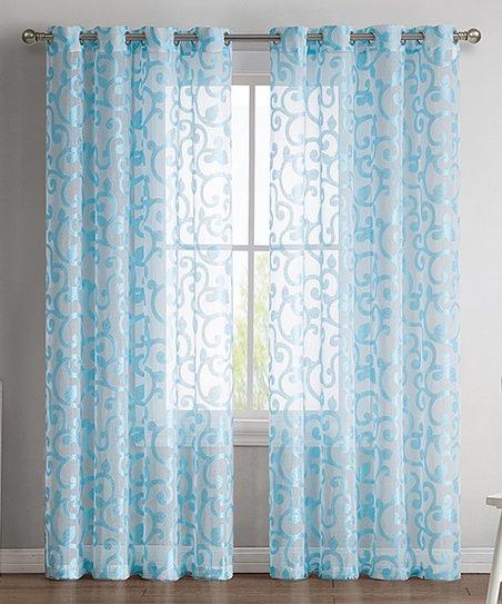 Hlc Aqua Ella Sheer Jacquard Curtain Panel – Set Of Two With Regard To Ella Window Curtain Panels (View 23 of 50)