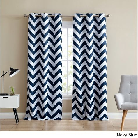 Hlc Chevron Print Thermal Blackout Grommet Curtain Panel Throughout Chevron Blackout Grommet Curtain Panels (View 29 of 50)