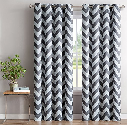 Hlc Chevron Print Thermal Insulated Room Darkening Within Easton Thermal Woven Blackout Grommet Top Curtain Panel Pairs (#30 of 44)