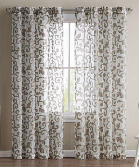 Hlc Chocolate Brown Ella Sheer Jacquard Curtain Panel Inside Ella Window Curtain Panels (View 24 of 50)