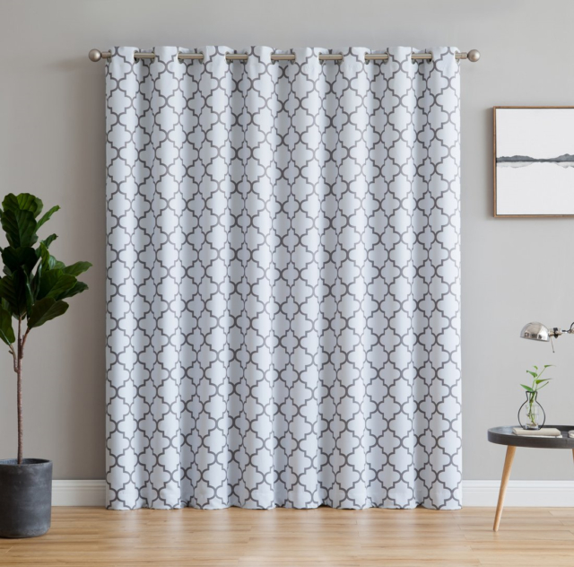 Hlc Lattice Print Thermal Grommet Blackout Patio Door Window Curtain For  Door Throughout Grommet Blackout Patio Door Window Curtain Panels (View 9 of 50)