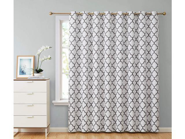 "Hlc Lattice Print Thermal Grommet Blackout Patio Door Window Curtain For  Sliding Glass Door – Platinum White & Grey – 100"" W X 84"" L – 1 Panel – With Grommet Blackout Patio Door Window Curtain Panels (View 10 of 50)"
