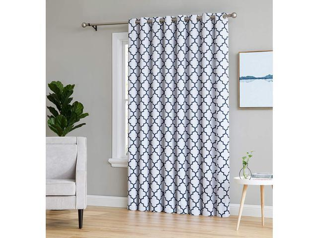 "Hlc Lattice Print Thermal Grommet Blackout Patio Door Window Curtain For  Sliding Glass Door – Platinum White & Navy Blue – 100"" W X 84"" L – 1 Panel Throughout Grommet Blackout Patio Door Window Curtain Panels (View 11 of 50)"