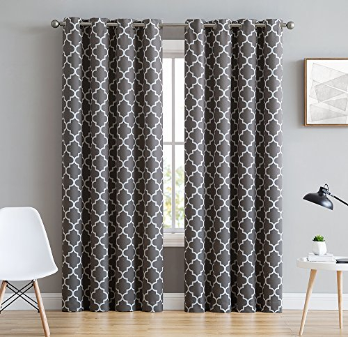 Hlc Lattice Print Thermal Insulated Blackout Window Throughout Thermal Insulated Blackout Grommet Top Curtain Panel Pairs (#26 of 50)