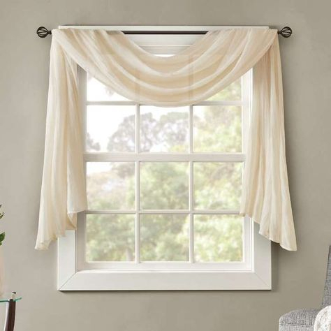 Hlc Lattice Sheer Voile Burnout Long Window Scarf Valance With Kaylee Solid Crushed Sheer Window Curtain Pairs (#15 of 40)