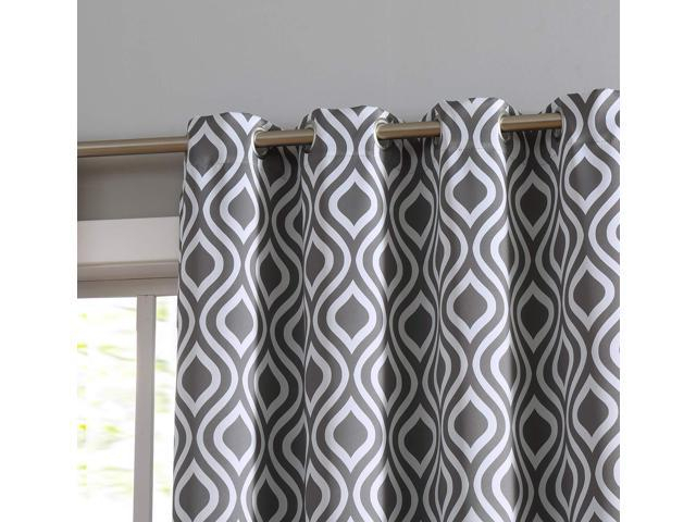 Hlc Ogee Trellis Print Blackout Grommet Curtain Panels For Bedroom – 99% Light Blocking – Thermal Insulated Decorative Pair For Privacy & Room In Blackout Grommet Curtain Panels (View 24 of 40)