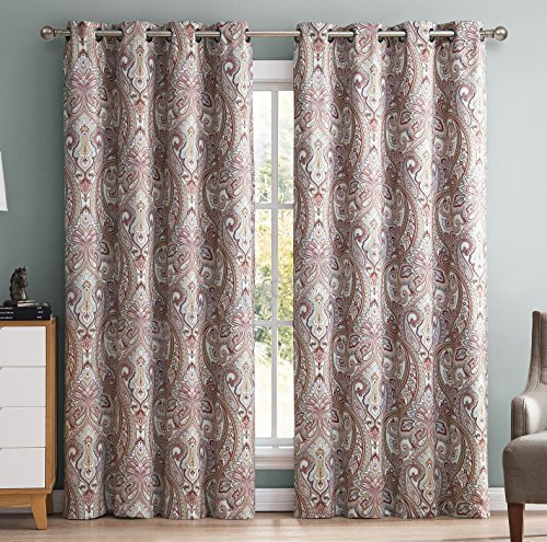Hlc Paris Paisley Damask Room Darkening Blackout Grommet Throughout Superior Solid Insulated Thermal Blackout Grommet Curtain Panel Pairs (#27 of 45)