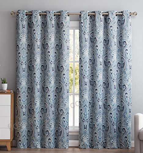 Hlc Paris Paisley Damask Room Darkening Thermal Blackout With Regard To Superior Solid Insulated Thermal Blackout Grommet Curtain Panel Pairs (#28 of 45)
