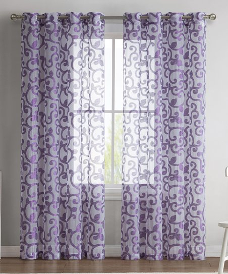 Hlc Purple Ella Sheer Jacquard Curtain Panel – Set Of Two For Ella Window Curtain Panels (View 25 of 50)