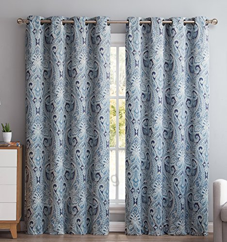 Hlcme Paris Paisley Damask Thermal Blackout Grommet Window Within Wilshire Burnout Grommet Top Curtain Panel Pairs (#31 of 45)