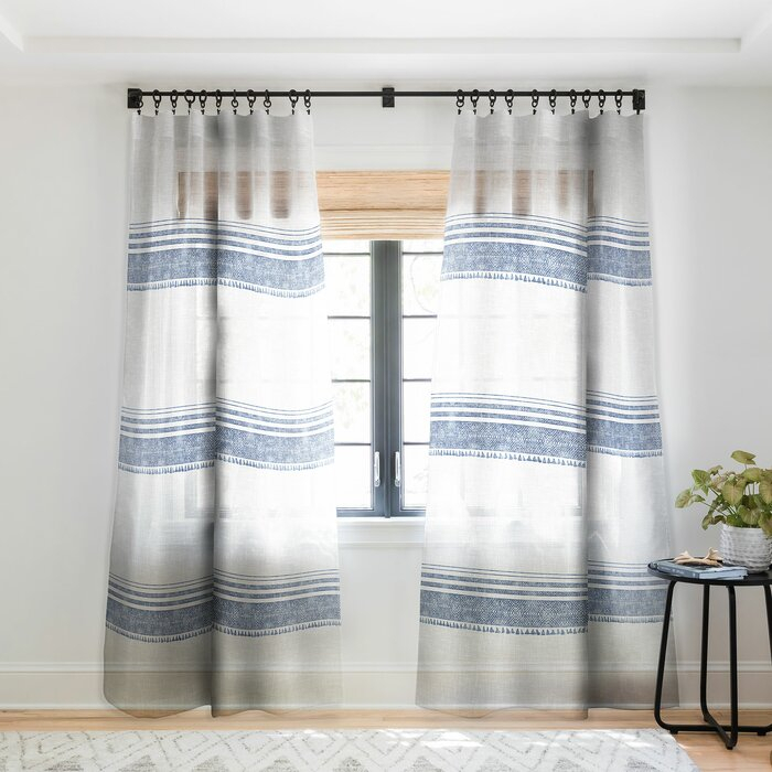 Holli Zollinger French Linen Chambray Tassel Striped Sheer Pinch Pleat  Single Curtain Panel With French Linen Lined Curtain Panels (#23 of 50)