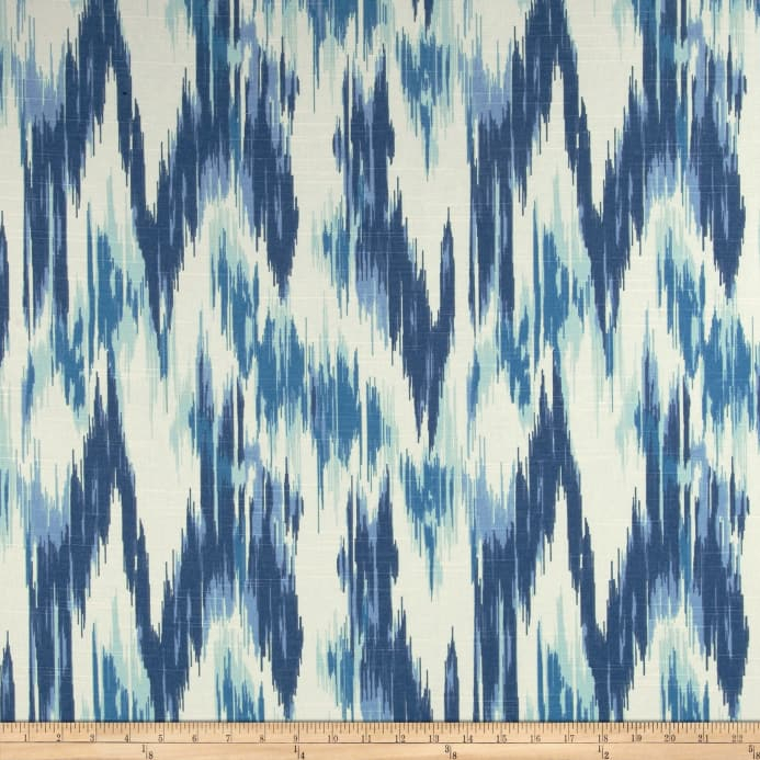 Home Accents Casbah Ikat Slub Baltic Blue Fabric Pertaining To Ikat Blue Printed Cotton Curtain Panels (#20 of 50)
