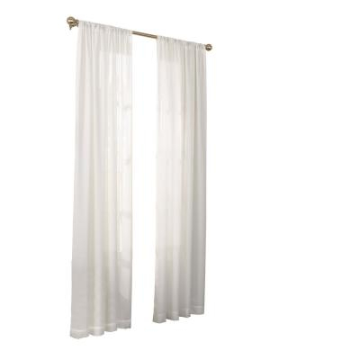 Home Decorators Collection Sheer Voile Window Panel In White Intended For Light Filtering Sheer Single Curtain Panels (#16 of 38)
