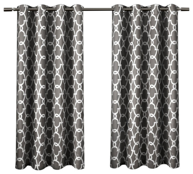 Home Gates Sateen Darkening Grommet Top Curtain Panel Pair, Black Pearl,  52X63 In Sateen Woven Blackout Curtain Panel Pairs With Pinch Pleat Top (#13 of 40)
