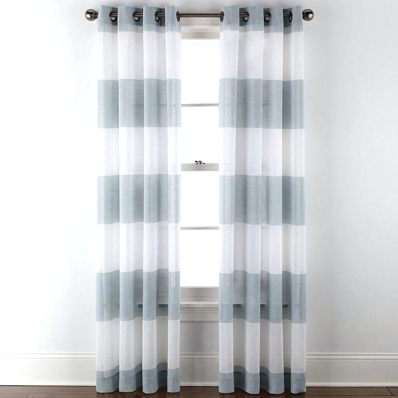 Home Metallic Stripe Grommet Top Sheer Curtain Panel With Penny Sheer Grommet Top Curtain Panel Pairs (View 29 of 49)