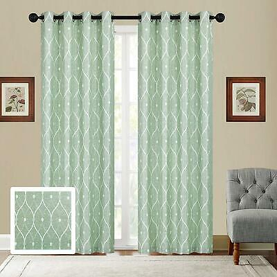 Home Montrose Ogee Geometric Jacquard Grommet Top Curtain Intended For The Curated Nomad Duane Jacquard Grommet Top Curtain Panel Pairs (#12 of 50)