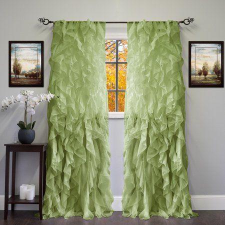 Popular Photo of Sheer Voile Waterfall Ruffled Tier Single Curtain Panels