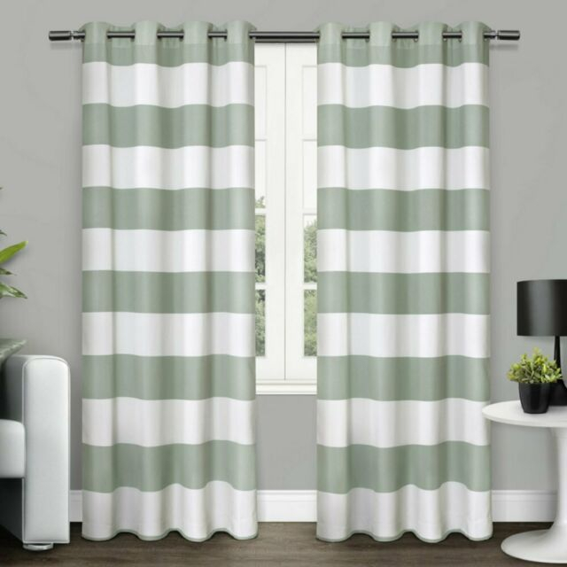 Home Surfside Cabana Striped Grommet Curtain Panel Pair With Indoor/outdoor Solid Cabana Grommet Top Curtain Panel Pairs (View 42 of 48)