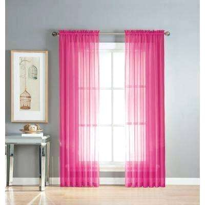 Hot Pink Curtains Sheer Diamond Sheer Voile Extra Wide In L Inside Ruffle Diamond Curtain Panel Pairs (View 50 of 50)