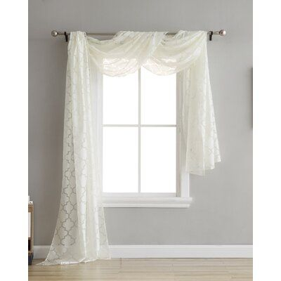 House Of Hampton Melchor Lattice Voile Burnout Geometric In Kaylee Solid Crushed Sheer Window Curtain Pairs (#16 of 40)