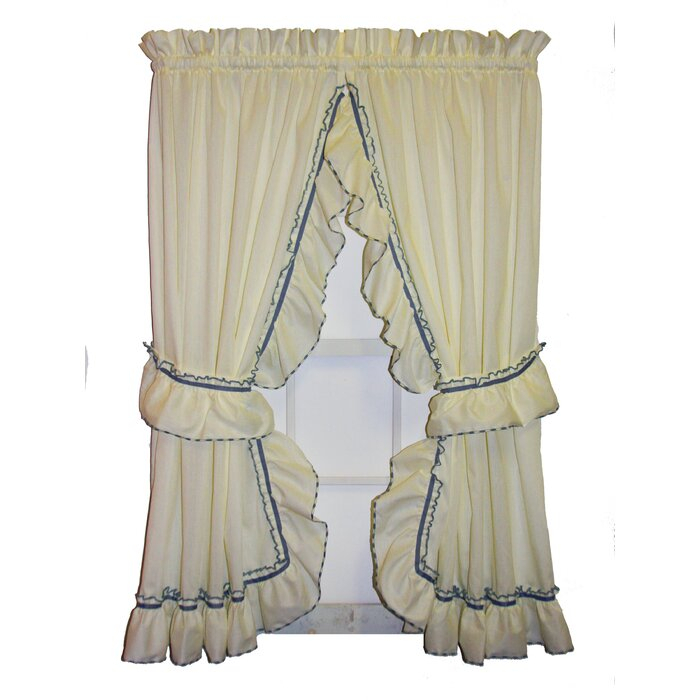 Hower Country Ruffled Priscilla Curtain Panels Pair With Regard To Lydia Ruffle Window Curtain Panel Pairs (View 13 of 43)