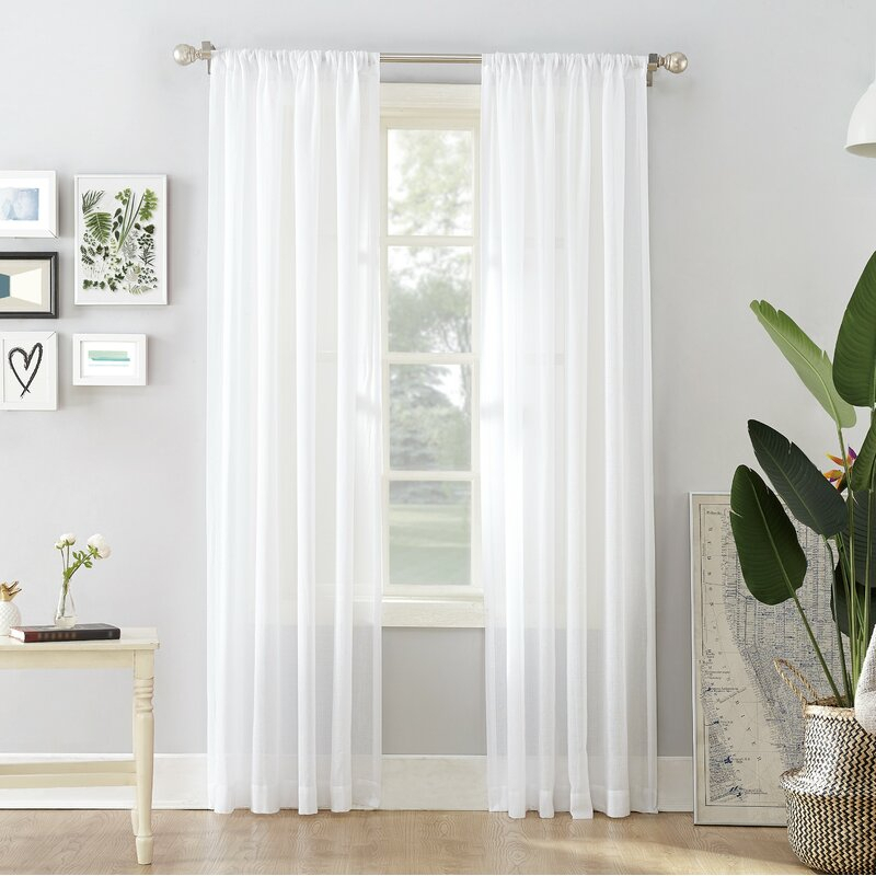 Hyannis Solid Sheer Rod Pocket Single Curtain Panel With Regard To Arm And Hammer Curtains Fresh Odor Neutralizing Single Curtain Panels (View 9 of 50)