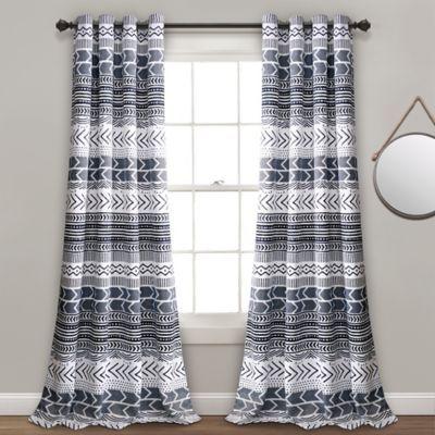 "Hygge Geo 84"" Grommet Room Darkening Window Curtain Panel For Cynthia Jacobean Room Darkening Curtain Panel Pairs (#15 of 41)"