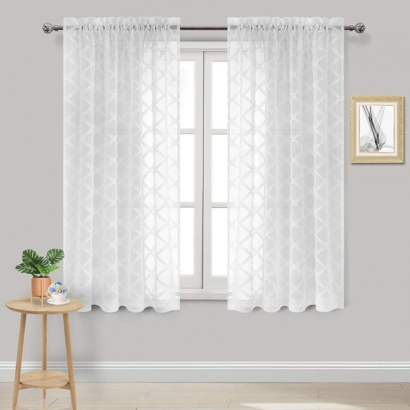 Ideas: Great White Sheer Curtains With Spectacular Double Throughout Signature White Double Layer Sheer Curtain Panels (View 22 of 50)