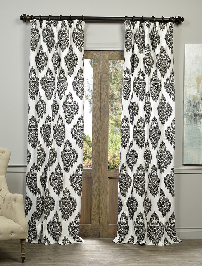 Ikat Black Printed Cotton Curtain | All Curtains And Drapes For Ikat Blue Printed Cotton Curtain Panels (#23 of 50)