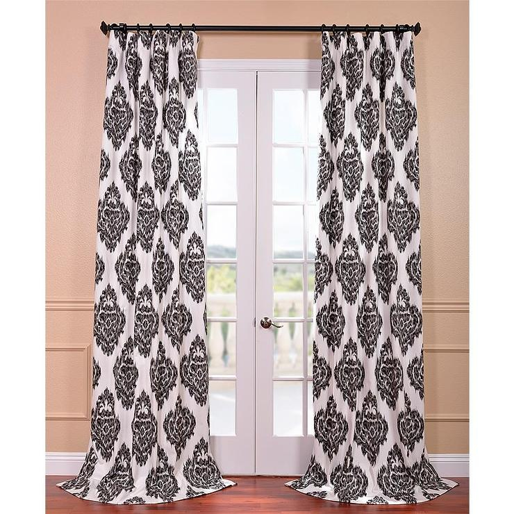 Ikat Black Printed Cotton Curtain Panel Throughout Grey Printed Curtain Panels (View 24 of 48)