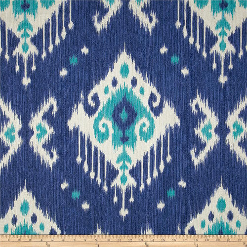 Ikat Print Cotton Fabric With Regard To Ikat Blue Printed Cotton Curtain Panels (#29 of 50)