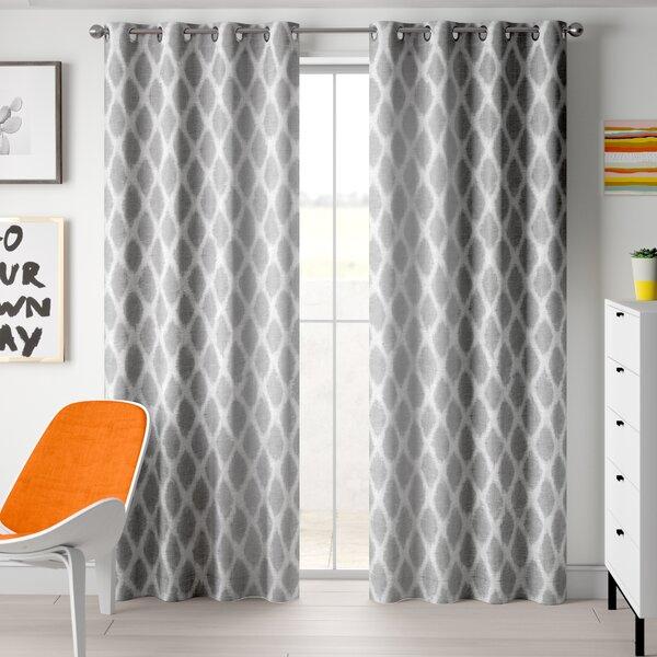Ikat Print Curtains | Wayfair Within Lambrequin Boho Paisley Cotton Curtain Panels (#26 of 41)