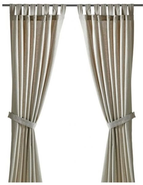 Inspiration about Ikea Cotton Solid Pattern, Beige – Pair Curtain Panels Price Pertaining To Solid Cotton Curtain Panels (#16 of 47)