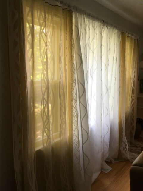 Ikea Semi Sheer Curtains Yellow/gold And White 2 Pairs (4 Panels) 98 In  Length Within Kida Embroidered Sheer Curtain Panels (#21 of 50)