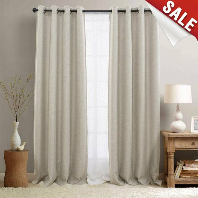 Indoor 100% Linen Solid Window Curtain Drapes Blackout Room Thermal  Insulated For Oakdale Textured Linen Sheer Grommet Top Curtain Panel Pairs (#21 of 41)