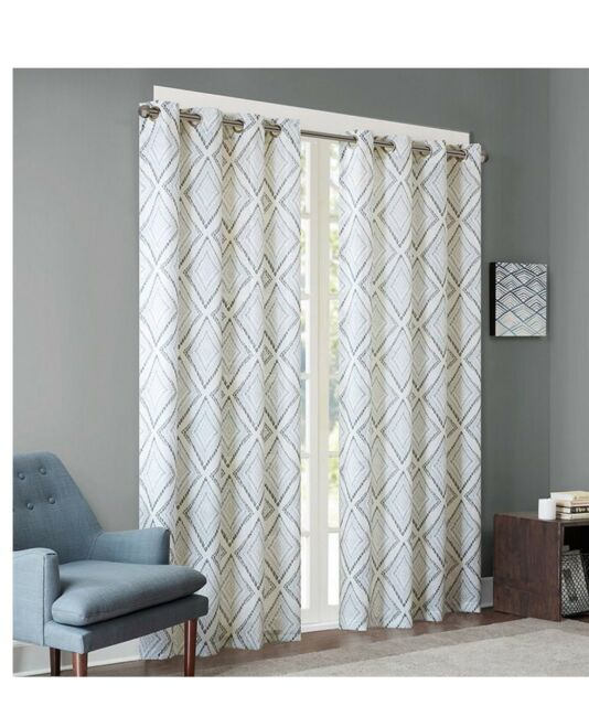 """Inspiration about Ink+Ivy Bas Printed Etched Diamond Window Set Of 2  Panels 50X95"""" Grey #ii40 720 Pertaining To Ink Ivy Ankara Cotton Printed Single Curtain Panels (#6 of 50)"""