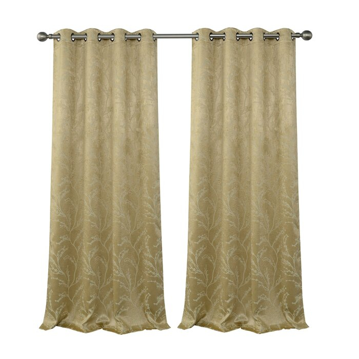 Inspiration about Inoue Reversible Top Floral Blackout Thermal Grommet Curtain Panels For Twig Insulated Blackout Curtain Panel Pairs With Grommet Top (#5 of 50)