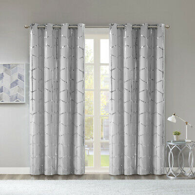 Intelligent Design Raina Total Blackout Metallic Print Throughout Riley Kids Bedroom Blackout Grommet Curtain Panels (#12 of 28)